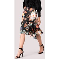 Dark Floral Pencil Skirt With Godet Detail