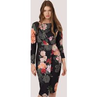 Multi Floral Draped Front Wrap Dress