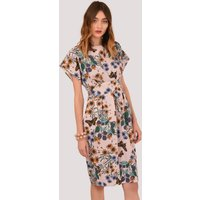 Floral Tulip Dress with Shaped Waistband