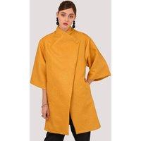 Mustard Button Wrap Kimono Jacket