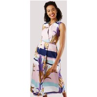 Closet Stripe and Leaf Sleeveless Full Skirt Dress