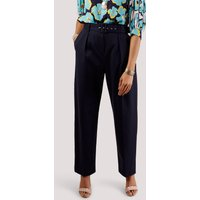 Navy Pleated Trousers with Belt