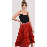 Red Leopard Print Pleated Skirt