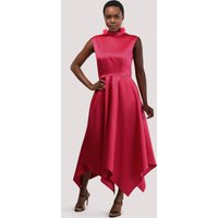 Pink Satin Handkerchief Hem Dress