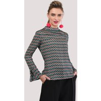 Pink and Green Geometric Gathered Neck Blouse