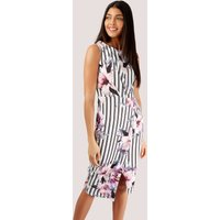 Floral and Striped Wrap Pencil Dress