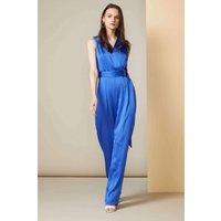 Blue Gathered Waist Wrap Jumpsuit