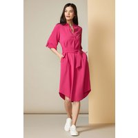 Magenta Pinstripe Tunic Dress with Belt