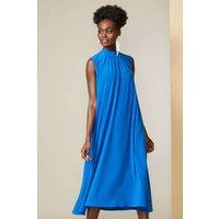 Blue Sleeveless Trapeze Dress
