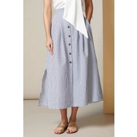 Striped A-Line Skirt With Front Buttons
