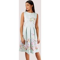 Mint Pleated Dress with Floral Print