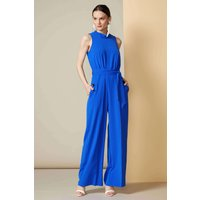 Blue High Neck Jumpsuit With Tie