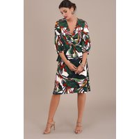 Twisted-Wrap-Front-Blouse-with-Palm-Print