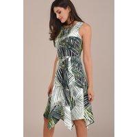 Sleeveless Palm Printed Handkerchief Dress