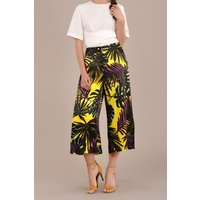 Printed Cropped Trousers with Side Splits