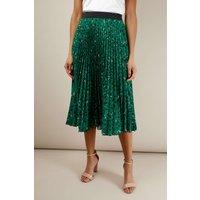 Green Leopard Print Pleated Skirt