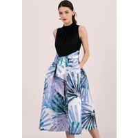 Blue-Palm-Pleated-Dress