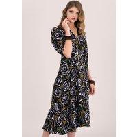 Rose Printed Puff Sleeve Wrap Midi Dress