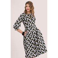 Printed Sleeved Pleated Skirt Dress
