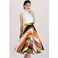 Ivory & Multi 2 in 1 Pleated Midi Dress