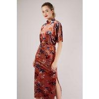 Rust Floral Velvet Kimono Pencil Dress