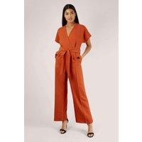 Rust Kimono Wrap Top Jumpsuit