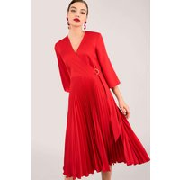 Red Pleated Wrap Dress with Asymmetrical Tie