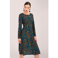 Blue Tiger Print A-Line Dress with Tie Waist