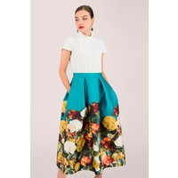 Closet GOLD Blue 2 in 1 Evening Dress with Floral Skirt