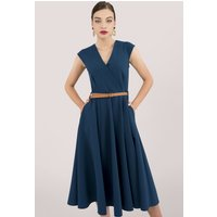 Blue Fit and Flare Dress With Belt