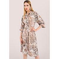 Beige Snakeskin Print Shirt Dress