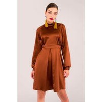 Brown Satin Long Sleeve Party Dress
