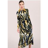 Mustard Animal Print Midi Dress