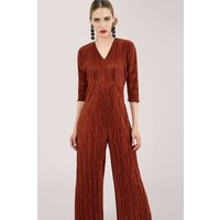 Rust Ribbed Wide Leg Jumpsuit