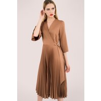 Brown Pleated Wrap Dress with Asymmetrical Tie