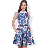 Closet Tropical Print Collar Dress