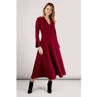 Maroon Long Sleeve Wrap Dress