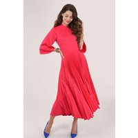 Pink High Neck Midi Dress