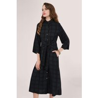 Black Front Tie Shirt Midi Dress