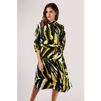 Mustard Animal Print Full Sleeve Dress