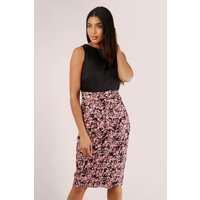 Pink Pleated Pencil Dress with Tie