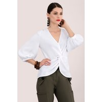 White Twisted Front Blouse