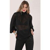 Closet London Black Sheer Gathered Neck Long Sleeve Blouse