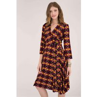 Multi Geo Print Long Sleeve Wrap Dress