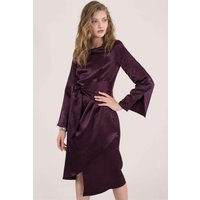 Purple Satin Drape Long Sleeve Dress