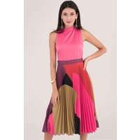 Closet Gold Fuchsia Pleated Skirt Dress
