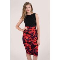 Red Floral 2-In-1 Pleated Pencil Dress