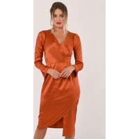 Rust Animal Print Satin Drape Wrap Dress
