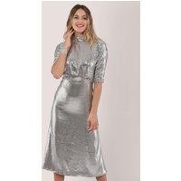 Closet GOLD Silver Sequin Kimono Sleeve Dress