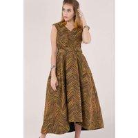 Closet GOLD Metallic Jacquard Hi-Low Evening Dress